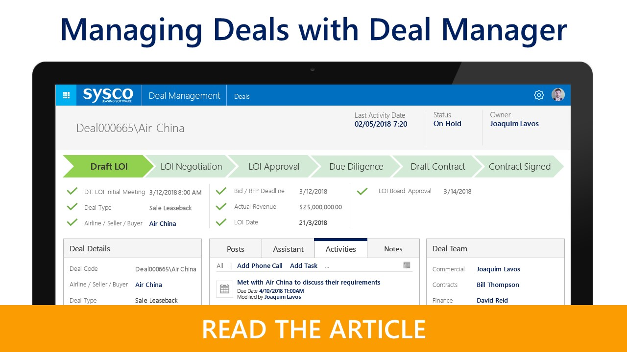 Manage Aircraft Deals with Deal Manager | Sysco Leasing Software